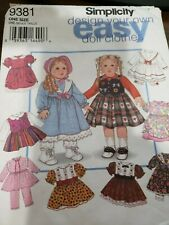 """Simplicity Design your Own Doll Clothes Sewing Pattern #9381 One Size 18"""" Dolls"""