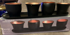 5 Piece Tea Light Holder Set Black Contemporary Home Decor