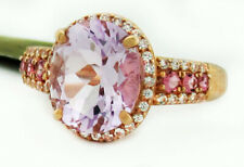 GENUINE AMETHYST, PINK TOURMALINE & WHITE SAPPHIRES RING 10k ROSE GOLD * NWT
