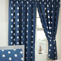 """NAVY BLUE + WHITE STARS FULLY LINED CURTAINS WITH TIE BACKS BOYS 66"""" x 54"""""""