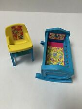 Vintage 1972 Remco Sweet April Crib #3418 and High Chair #3423