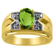 Mens Diamond & Peridot Ring 14K Yellow Gold Ring