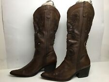 VTG WOMENS GEORGE COWBOY BROWN BOOTS SIZE 9 M