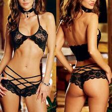 Women Sexy Black Lace Lingerie Babydoll Sleepwear Underwear G-string Nightwear