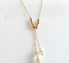 Women New 18K Yellow Gold Plated 8mm Pearl Bead 43 + 5 cm Long Drop Necklace