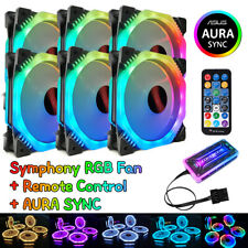 6x RGB LED PC Gehäuselüfter AURA SYNC Fernbedienung Musik Induktion für