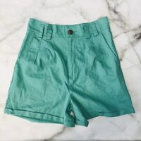 Urban Outfitters High Waist Linen Shorts Teal Green Size 10 Cuffed Pleated