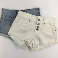 New Bullhead Sz 22 Lot of 2 Cut off Jean Shorts Distressed Button Fly High Rise