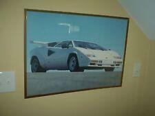 VINTAGE 1984 White Lamborghini Countach 5000 S  POSTER SUPER RARE