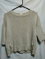 Topshop Crew Neck Tan Zip Back Sweater Woman's Size US 4 Boxy Fit