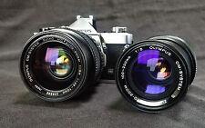 Olympus OM-1n Film Camera w two Zuiko Lenses 35-70mm f/3.6 + 100-200/5 + Winder.