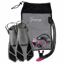 Seavenger Adults Kids Dry Top Snorkel Mask Fins Bag Travel Set Black Pink S/M