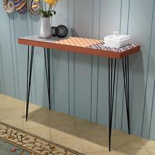 Brown Console Table Modern Sideboard Steel Pin Legs Photo Frames Hallway Bedroom