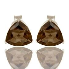 Natural Smoky Quartz Prong Set Stud Earrings, 925 Sterling Silver Jewelry
