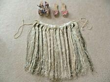 1950'S Hawaiian Silk Hula Skirt & 2 Pair Straw Rattan Sandals