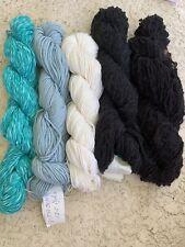 New listing 100% Cotton 5 Skein Black White Blue Multi Color