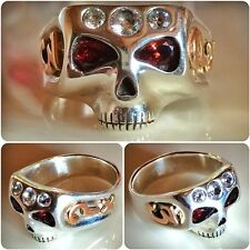 Johnny Depp Skull Ring with Golden Symbols & Stones Handcrafted