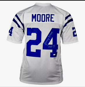Lenny Moore Colts Signed HOF 75 Pro-Edition White Football Jersey (JSA)Baltimore