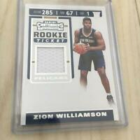 Zion Williamson Basketball Card 2019-2020 Pelicans NM Contenders Rookie Jersey