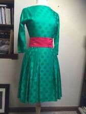Vintage Green Red Party Cocktail Dress Polka Dot Fitted rockabilly Holiday