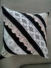Upcycled HOME SEWN Vintage CROCHETED LACE Pillow on CHARCOAL GRAY WOOL