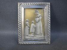 Ancien petit cadre en métal vitré et icône religieuse french antique religious
