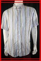 SERGE BLANCO Taille XL Superbe chemise manches courtes homme en lin rayures bleu