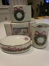 Vtg Soap Dish Toothbrush Holder and Cup set Porcelain Christmas Wreath Pink NOS