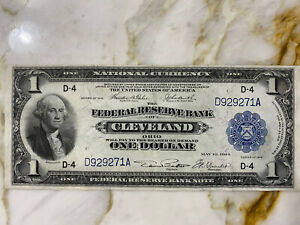 1918 One Dollar Note National Currency Cleveland Ohio