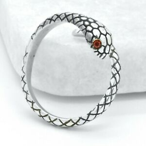 Sterling Silver Harley Biker Gothic Small Adjustable Snake Unisex SteamPunk Ring