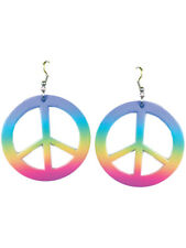 Womens Hippie Peace Sign Rainbow Tie Dye Earrings Costume Accessory