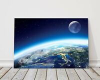 Earth and moon space canvas print framed picture wall art various sizes