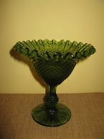 Vintage Fenton Green Ruffled Edge Glass Pedestal Candy Dish Diamond Pattern bowl