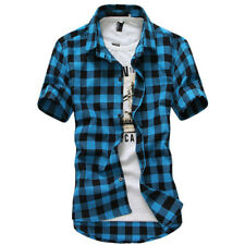 Men's Plaid Short Sleeve Shirt Slim Fit Button Down Formal Casual T-shirt Tops