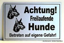 Achtung freilaufende Hunde,Dobermann,Türschild,Hinweisschild,Gravur,12 x 8 cm