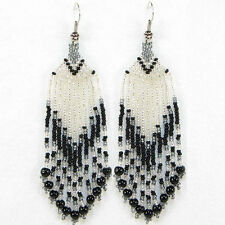 SEED BEADED BLACK SILVER COLOR HANDMADE EARRINGS E11/15 USA SELLER