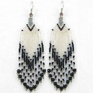 HANDMADE NATIVE STYLE BLACK SILVER SEED BEADED EARRINGS