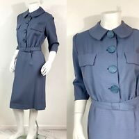 M- VTG 50s Gaberdine Shirt dress Grey Blue Dress- True Vintage