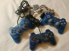 Set of 3 PlayStation 1 Blue Translucent Analog Controllers