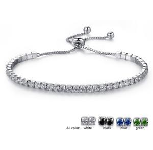 Adjustable Silver Bridesmaid Tennis Bracelet Rhinestone Cubic Zirconia Crystals