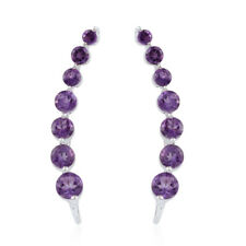 925 Sterling Silver Amethyst Platinum Over Ear Climber Cuff Earrings Ct 5 -st