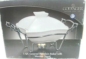 GODINGER 1 QT COVERED PORCELAIN BAKER WITH WARMER STAND NIB