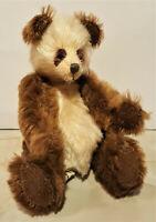 """Mahogany"" Panda, Jointed Mohair Artist Teddy Bear, Sharon Dressman, Bear Basket"