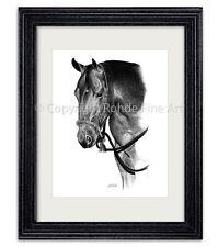 New listing American Quarter Horse western bosal Framed Graphite Equine Art artist signed