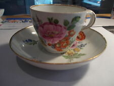 Antique MEISSEN Crossed Swords Cup & Saucer-Large Flowers w/Gold Trim-#4
