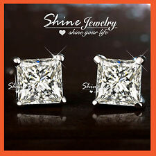 925 STERLING SILVER PRINCESS 1.5CT SQUARE SIGNITY DIAMOND LADY MEN STUD EARRINGS