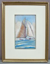 "SLOOP__Vntg Orig Gouache/Watercolor__4""x6.75""__Framed/Unsigned__ExC__SHIPS FREE"