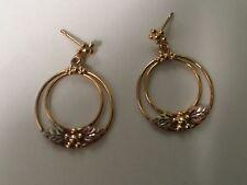 Solid 10K Yellow Rose Black Hills Gold Leaf Dangle Hoop Earrings