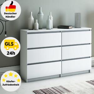 Kommode Weiß mit 6 Schubladen 120cm Klamottenschrank Modern Schrank Klassik Matt