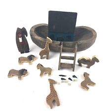Hand Carved Noah's Ark With Noah and Animals - Folk Art - Religious Art11 pcs